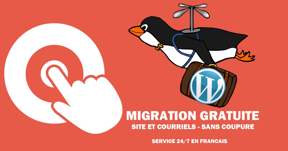 Migration gratuite de site et courriels - sans coupure