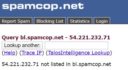 SPAMCOP - Problème de courrier entrant marqué comme spam